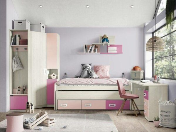 Dormitorio juvenil con encimera de estudio