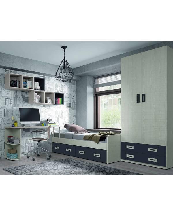 Dormitorio juvenil roble claro y gris