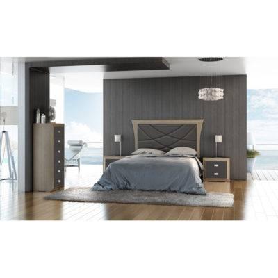 Dormitorio Adele cabecero en pico con pespuntes
