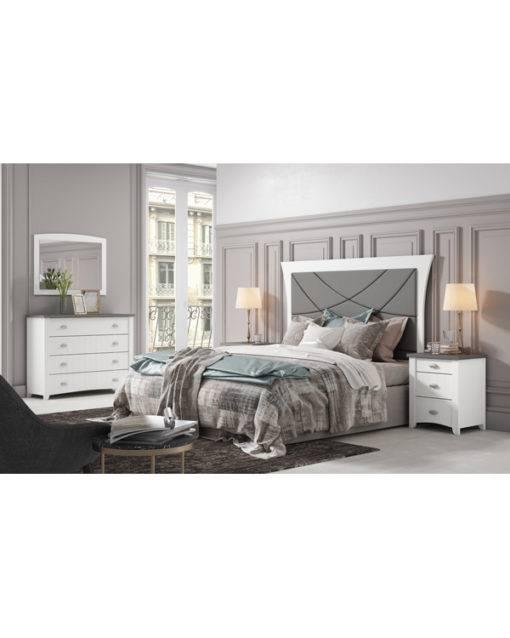 Dormitorio Alison cabecero en pico con pespuntes