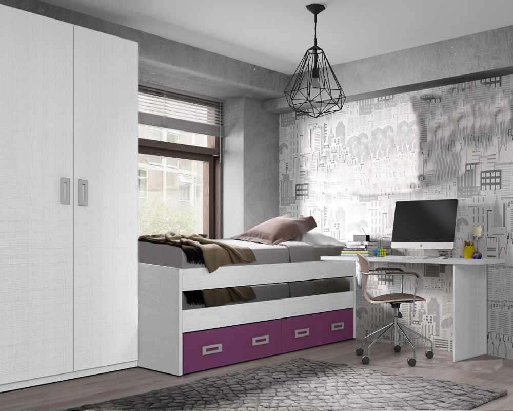 Dormitorio Juvenil blanco/mora
