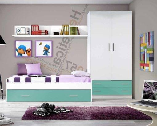 Dormitorio Juvenil blanco/turquesa